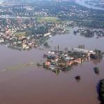 Überflutete Wohngebiete